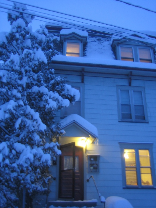 our building on a snowy evening in Montpelier
