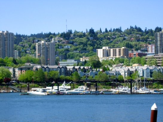 yacht harbor on a gorgeous day, taken from the waterfront bike trail
