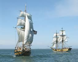 2 beauti ships in calm waters