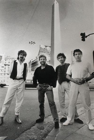 Pablo Ziegler's New Tango Quartet in 1989: Horacio Lopez (percussion), Ziegler (piano), Quique Sinesi (guitar), and Oscar Giunta (bass). Photo courtesy Pablo Ziegler.