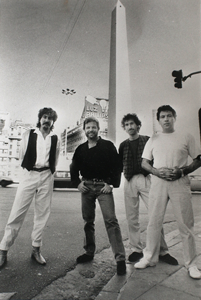 Pablo Ziegler's New Tango Quartet in 1989: Horacio Lopez (percussion), Ziegler (piano), Quique Sinesi (guitar), and Oscar Giunta (bass). Photo courtesy Pablo Ziegler.